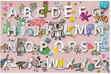 laroom Vinyl Carpet Children's Alphabet Design, Vinyl antiliscante 133x200cm pink