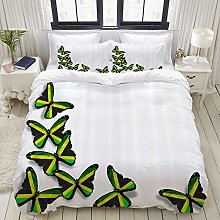 LASINSU Duvet cover set,Jamaican Buterflies Flag