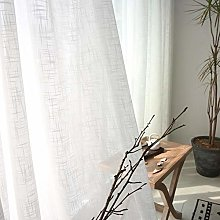 LASISZ Chinese Thick Linen White Curtains For