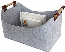 Laundry basket Grey Felt Storage Basket Bin with