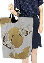 Laundry Basket Storage Cart Red-crowned Crane