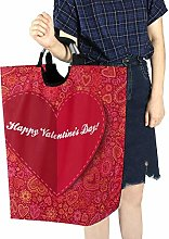 Laundry Basket Storage Cart Red Paper Heart