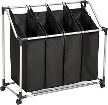 Laundry basket with 4 compartments - black