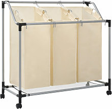 Laundry Sorter with 3 Bags Cream Steel