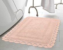 Laura Ashley Crochet Cotton 21x34 Bath Rug, Blush