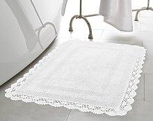 Laura Ashley Crochet Cotton 24x40 Bath Rug, White