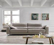 Lauren Italian Sliding Leather Sofa Crema