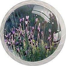 Lavender, 4Pack ABS Dresser Knobs Cabinet Round