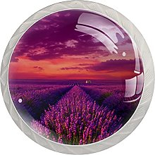 Lavender Field Glass Cabinet Knobs Crystal Knobs