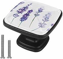 Lavender Flowers 4pcs Glass Cupboard Wardrobe