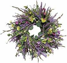 Lavender Wreath Fake Floral Garland for Front Door