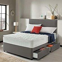 Lavish Grey Suede Divan Bed Set with Quilted 10