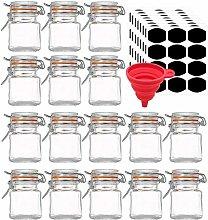 Lawei 16 Pcs Glass Spice Jars Mini Clip Top