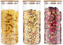 Lawei 3 Pack Glass Storage Jars with Sealed Bamboo