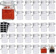 Lawei 30 Pcs Mini Glass Jars Clip Top Spice