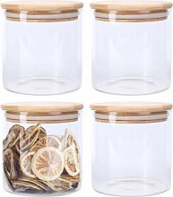 Lawei 4 Pack Glass Storage Jars with Sealed Bamboo