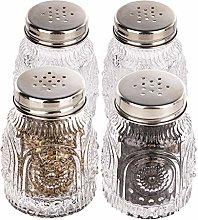 Lawei 4 Pcs Vintage Mason Jar Shaker Jars Salt &