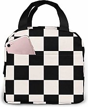 Lawenp Black-White-Checkered-Squares Lunch Bag for