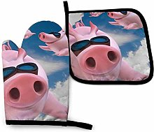 Lawenp Blue Sky Pig Cotton Kitchen Oven Mitt