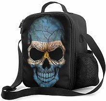 Lawenp Dark Argentinian Flag Skull Insulated Lunch