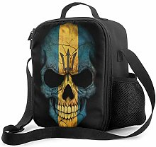 Lawenp Dark Barbados Flag Skull Insulated Lunch