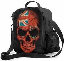 Lawenp Dark Bermuda Flag Skull Insulated Lunch