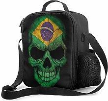 Lawenp Dark Brazilian Flag Skull Insulated Lunch