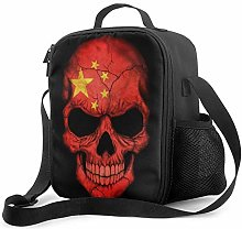 Lawenp Dark Chinese Flag Skull Insulated Lunch