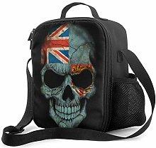 Lawenp Dark Fiji Flag Skull Insulated Lunch Bag,