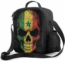 Lawenp Dark Senegal Flag Skull Insulated Lunch