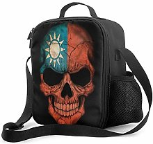 Lawenp Dark Taiwanese Flag Skull Insulated Lunch