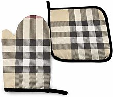 Lawenp Gray Plaid Lines Cotton Kitchen Oven Mitt