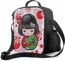 Lawenp Lunch Bag Tote Cute Cartoon Geisha with