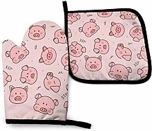 Lawenp Pink Cute Pig Cotton Kitchen Oven Mitt