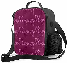 Lawenp Pink Flamingo Insulated Lunch Bag,