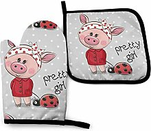 Lawenp Pink Pig Cotton Kitchen Oven Mitt Gloves