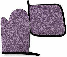Lawenp Purple Cotton Kitchen Oven Mitt Gloves and