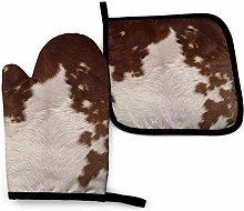 Lawenp Red Brown Cowhide Cotton Kitchen Oven Mitt