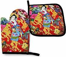 Lawenp Retro Japanese Geisha Girl Cotton Kitchen