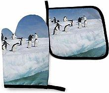 Lawenp Snow Mountain Penguin Cotton Kitchen Oven