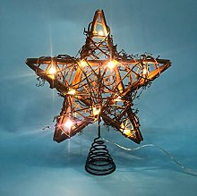 LAWOHO Christmas Tree Topper Star Rattan Natural Star Treetop 10 inch Christmas Tree and Holiday Seasonal Decoration Fit for General Size Christmas Tree