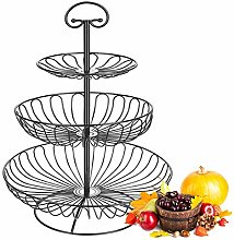 LAZAJ 3-Tier Fruit Basket Metal Fruit Bowl Bread