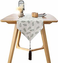 LAZAJ Table Runners Cotton and Linen, Leaf Print
