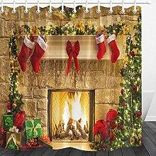 LB Christmas Shower Curtain 71x78 inch