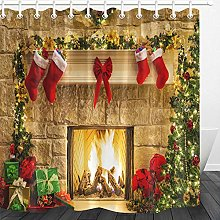 LB Christmas Shower Curtain Fireplace,Red Xmas