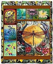 LCFF Throw Blanket Sofa Flannel Blanket Butterfly