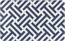 LDHHZ Blue and White Line Welcome Door Mat Indoor