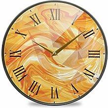 LDIYEU Abstract Orange Juice Round Wall Clock