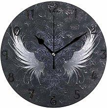 LDIYEU Art Abstract Angel Wing Round Wall Clock