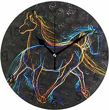 LDIYEU Art Abstract Horse Line Round Wall Clock